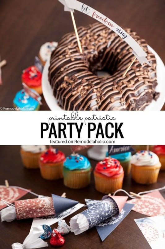 Patriotic Printable Pack Cupcake Toppers, Cake Topper, Bunting, Fire Crackers, Editable Invitations Via Remodelaholic.com