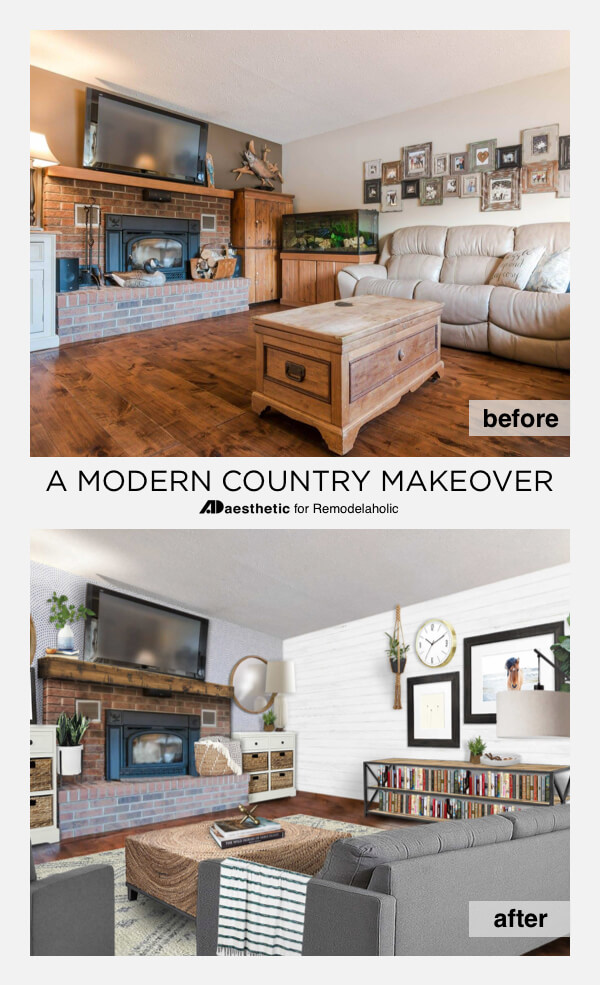 a modern country living room makeover virtual room redesign with tips and tricks from ad