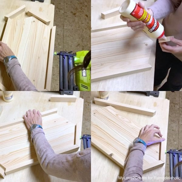 Attaching Wood Hexagon Tray Sides with Glue and Nails