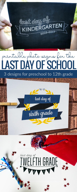 Free Printable Last Day Of School Signs @Remodelaholic