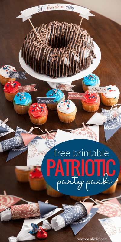 Free Printable Patriotic Party Pack For Summer Parties @Remodelaholic