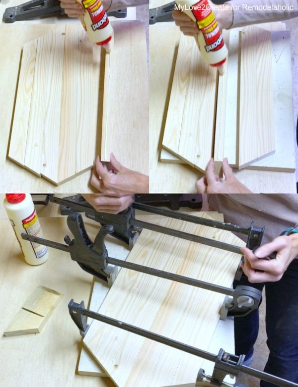 Gluing Bottom Long Hexagon Tray Wood Pieces Together