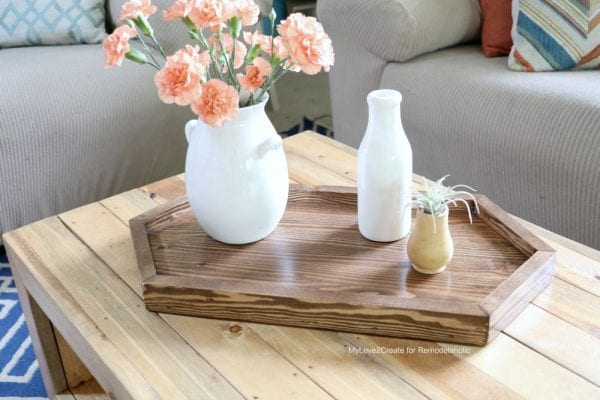 wooden DIY long hexagon tray on reclaimed wood coffee table