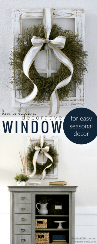 How To Build A DIY Decorative Window Frame From Just One Board For Eason Seasonal And Holiday Decor @Remodelaholic