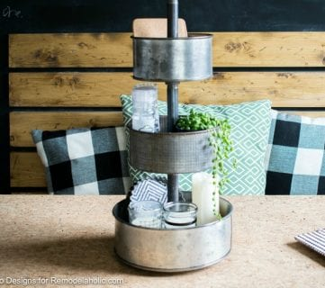 DIY Rotating Metal Tiered Tray Organizer