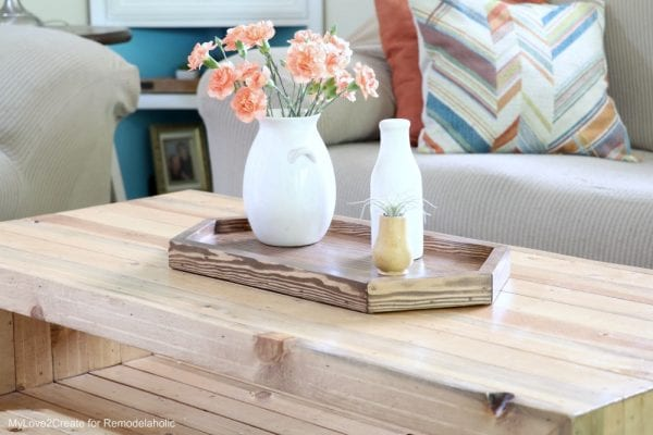 Easy DIY Wood Tray on Reclaimed Wood Coffee Table
