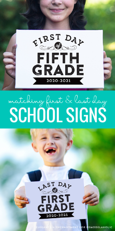 Matching First Day Of School Signs And Last Day Of School Signs, Instant Download Printable #remodelaholic