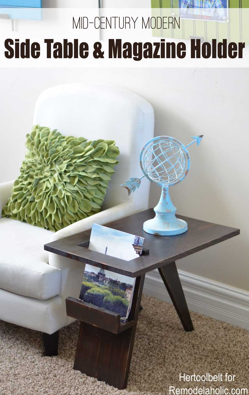 Image of: Remodelaholic Build A Diy Mid Century Modern Side Table And Magazine Holder