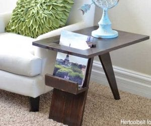 Mid Century Modern Side Table Magazine Holder Feature