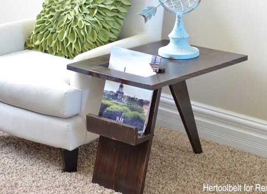 Mid Century Modern Side Table Magazine Holder Feature