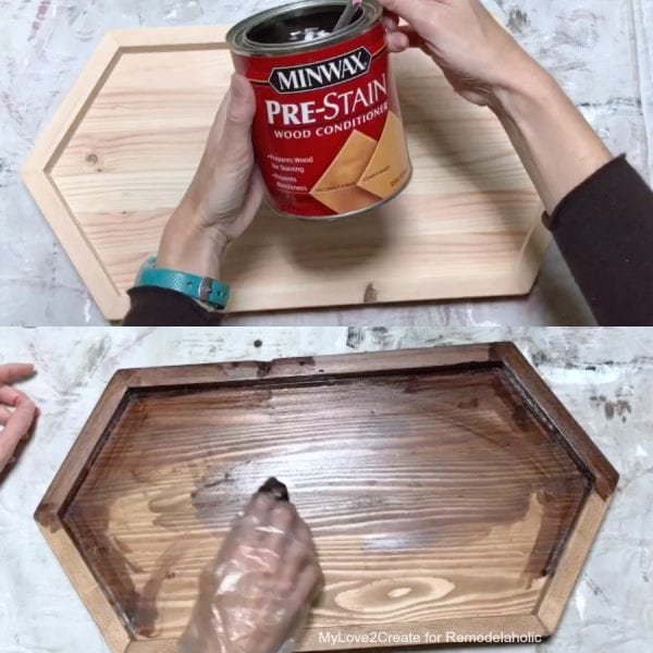 Staining Long Hexagon DIY Wood Tray