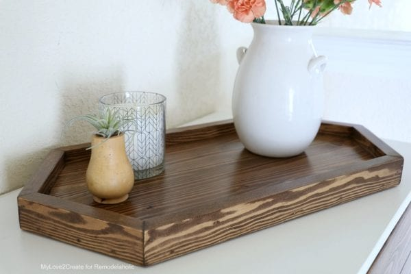 Long Hexagon DIY Wood Tray With Candle and Vase