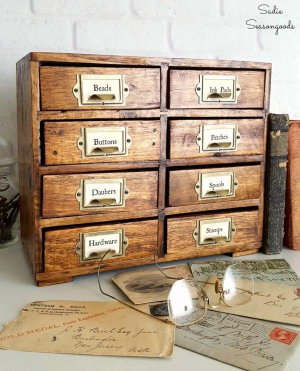 10 Repurposed Painted Set Of Mini Drawers Refinished To Look Like Vintage Library Card Catalog By Sadie Seasongoods