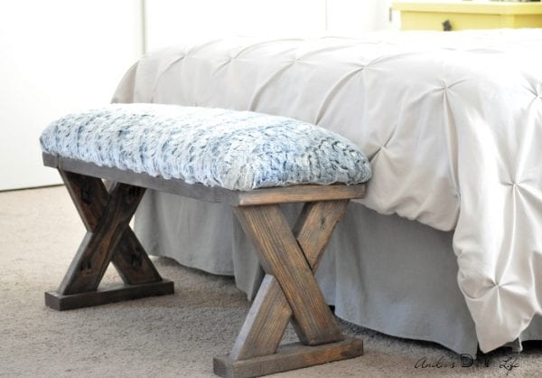 2x4 Wood Projects, upholstered bench by Anika's DIY Life
