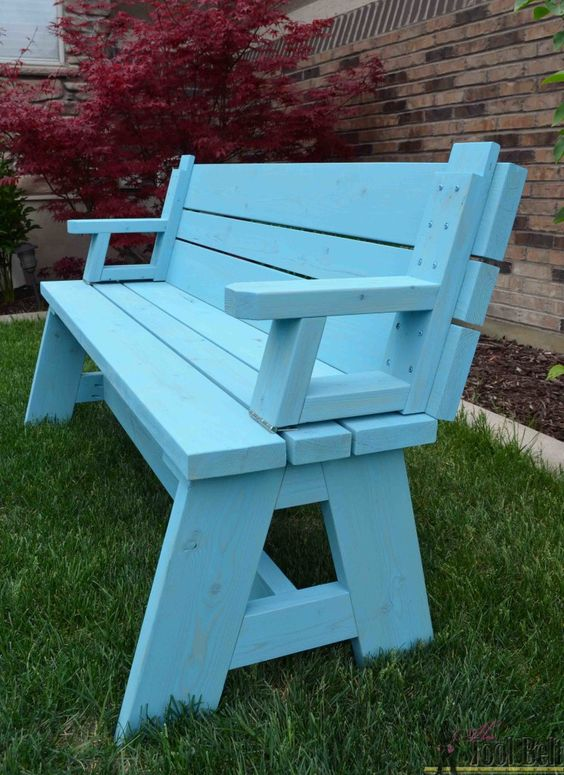 2x4 Wood Projects, bench by Her Tool Belt