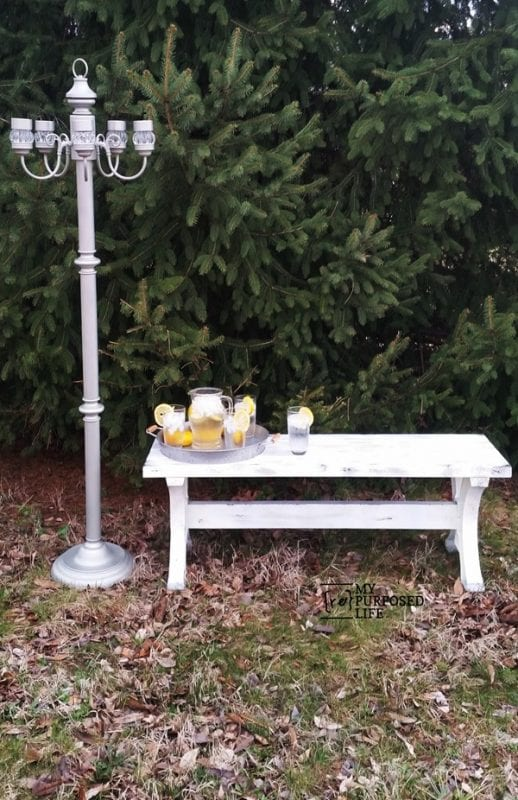 2x4 Outdoor Farmhouse Style Bench MyRepurposedLife.com