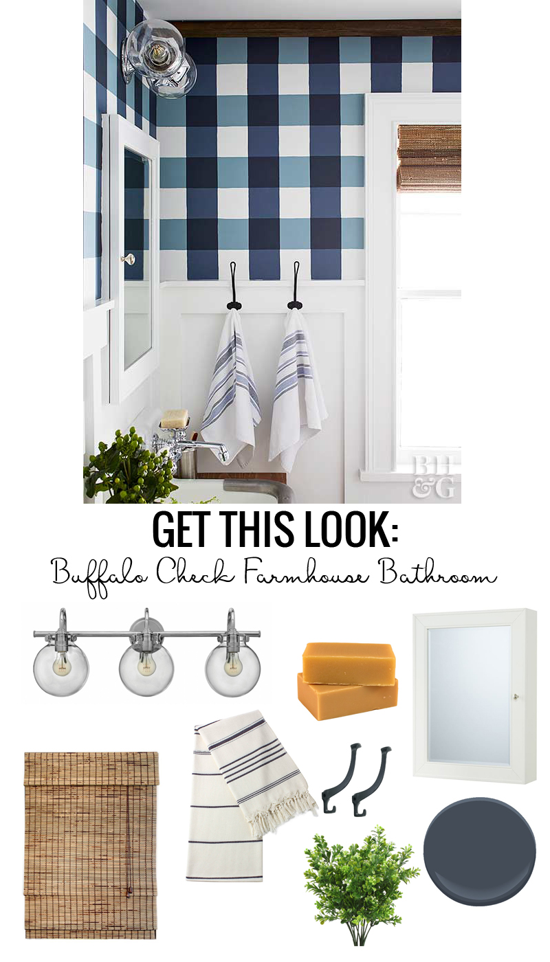 buffalo check farmhouse bathroom love the blue and white gingham walls modern light fixture