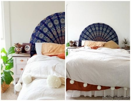 Easiest Headboard EVER... Use A Round Beach Throw To Upholster A Half Curcle Headboard Reality D 1