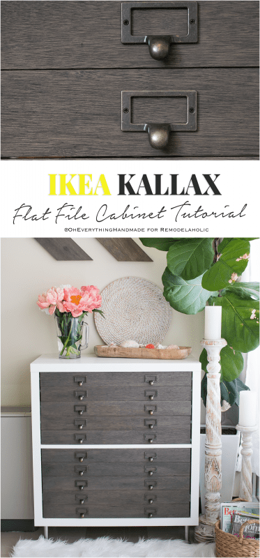 IKEA Hack: Kallax Cube Shelf into Card Catalog Style Flat File Cabinet with Drawers