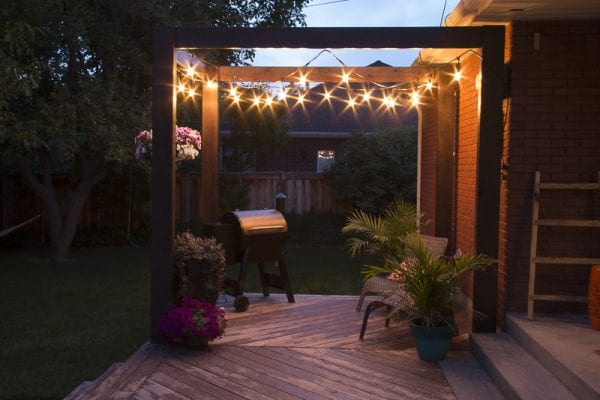 Pergola with lights in the dark, Modern Deck Pergola @Remodelaholic 34