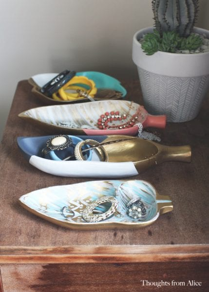 Painted Wooden Tray Jewelry Storage