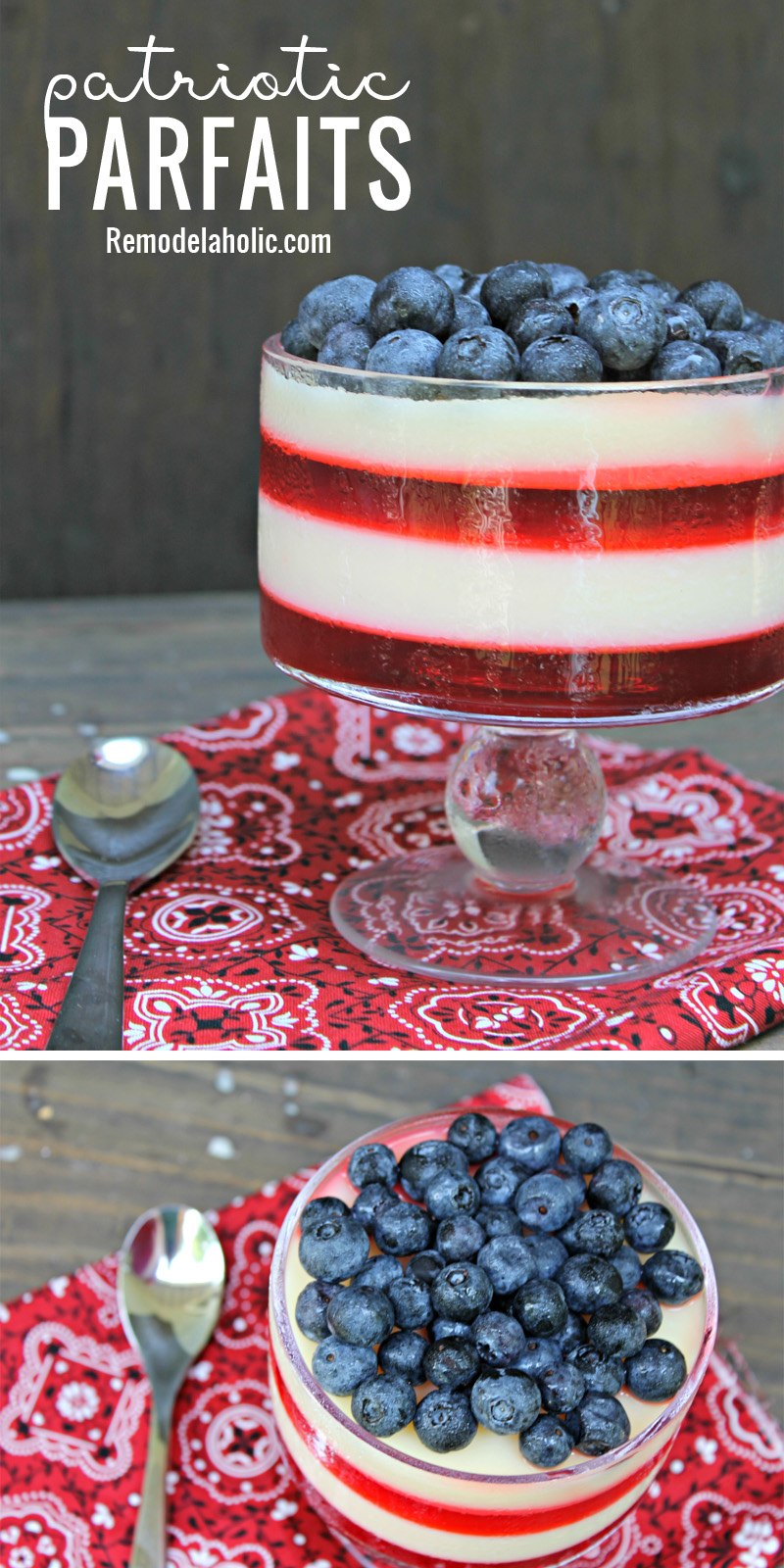 Bring a gorgeous dessert to your fourth of July picnic with these festive and yummy Patriotic Parfaits via Remodelaholic.com
