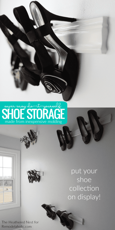 Easy Diy Molding Shoe Storage For High Heeled Shoes @Remodelaholic