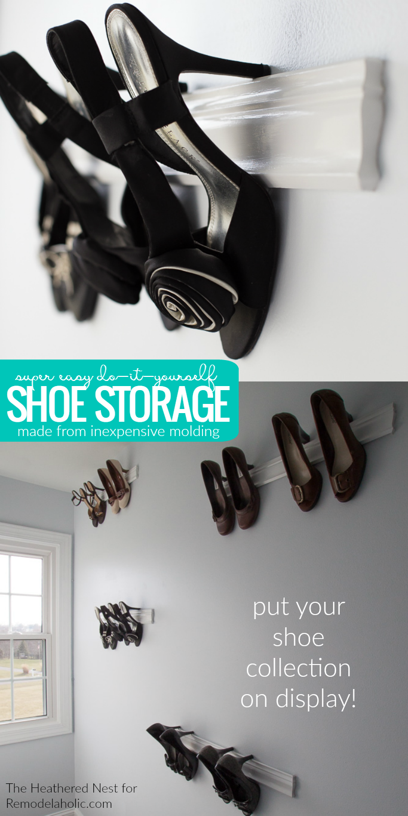 remodelaholic easy diy molding shoe storage for high heeled shoes