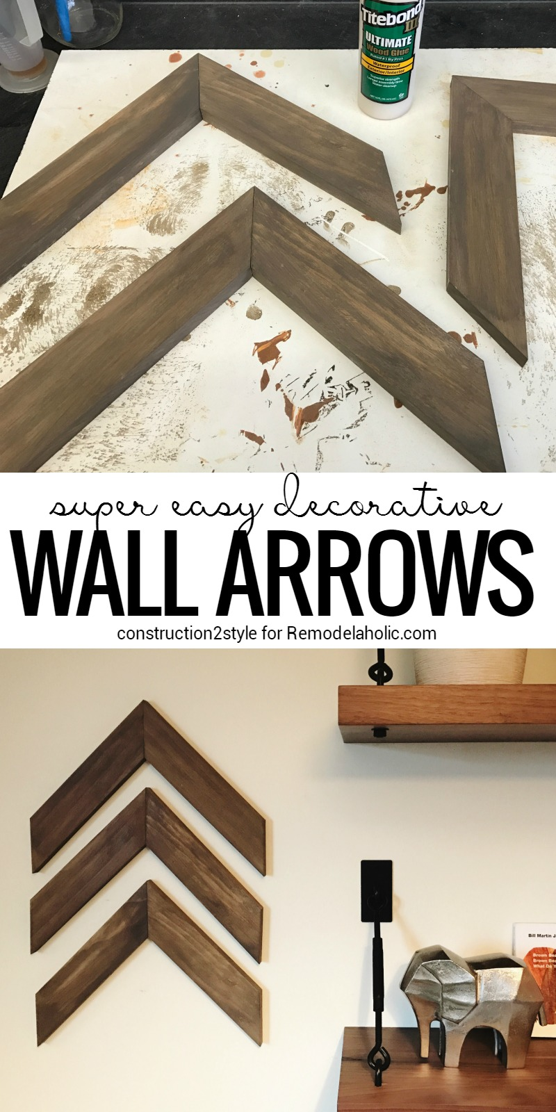 Great Super Easy DIY Wooden Arrow Wall Decorations Full DIY tutorial from constructionstyle on Remodealaholic