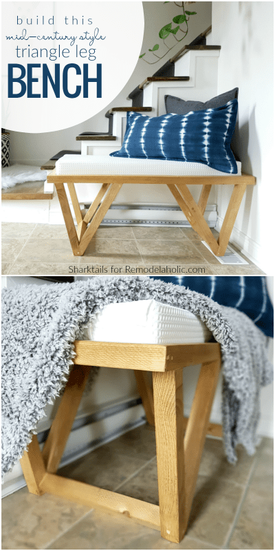 Free Building Plan And Tutorial, Mid Century Modern Inspired Triangle Leg Bench @Remodelaholic