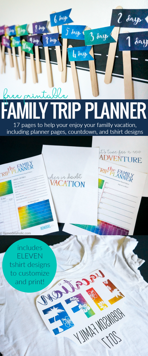 Make your family trip or family reunion even better with this FREE family vacation printable pack. Includes trip planners, a travel countdown, and 11 printable shirt designs to customize and iron-on for your crew to have matching shirts.