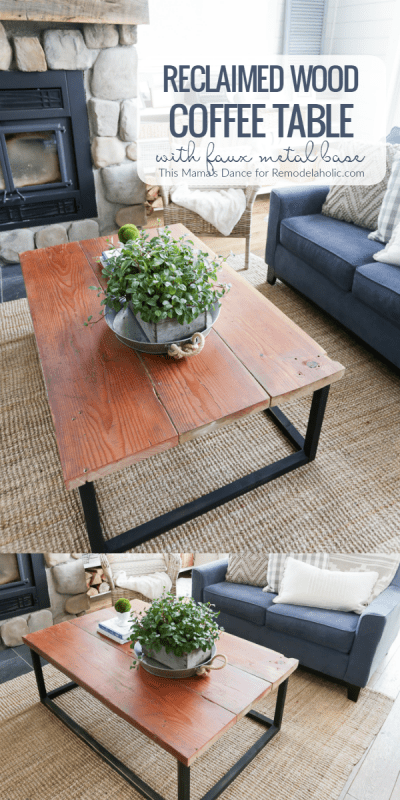 How To Build A Reclaimed Wood Coffee Table With A Faux Metal Base | beginner-friendly building tutorial | pocket hole jig | spray paint