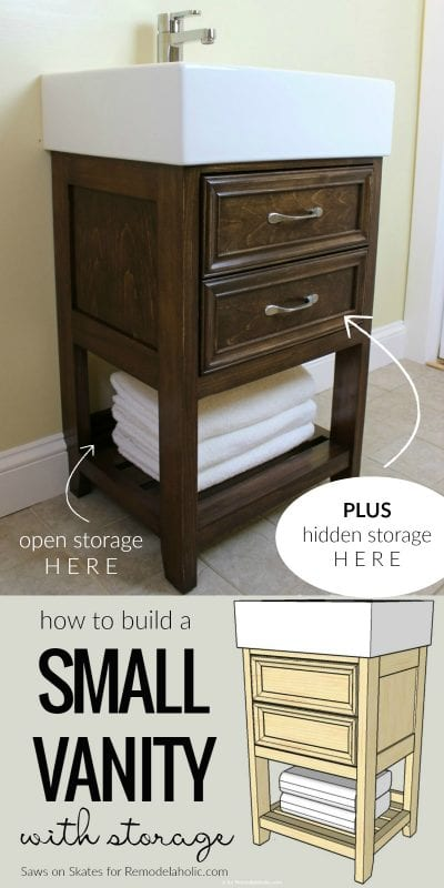 How To Build A Small Bathroom Vanity To Fit An Ikea Sink, With Open And Hidden Storage @Remodelaholic