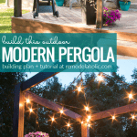 How To Build An Modern Deck Pergola For Summer Outdoor Lighting And Hanging Planters @Remodelaholic