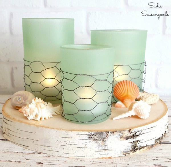 10 DIY Coastal Farmhouse Style Seaglass Candles Using Repurposed Thrift Store Glass Candle Holders By Sadie Seasongoods