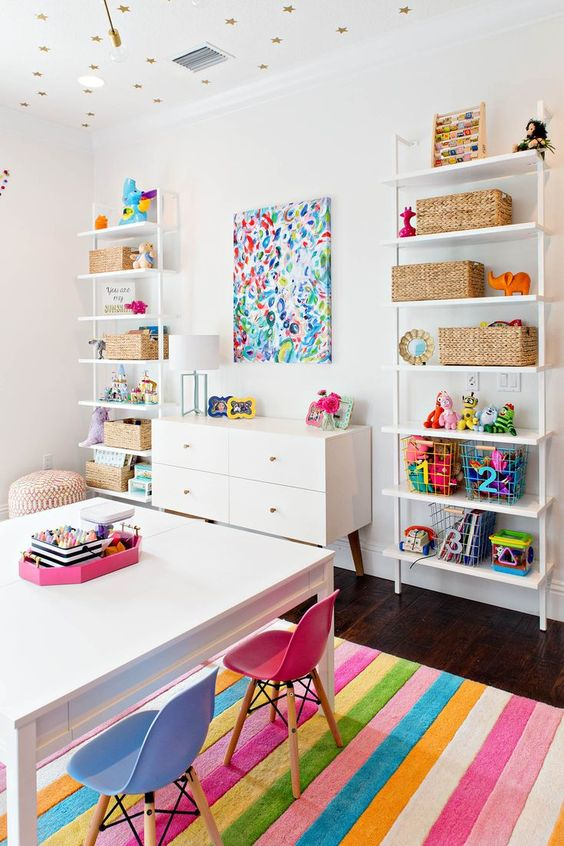 Remodelaholic colorful girls playroom decor and inspiration - Playroom office ideas ...