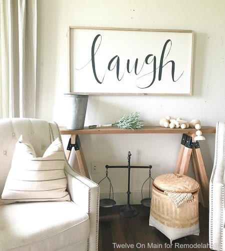 DIY Sawhorse Sofa Table by Twelve On Main