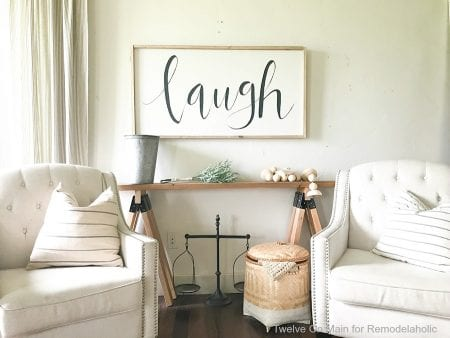 I love this DIY sawhorse sofa table by Twelve On Main for Remodelaholic