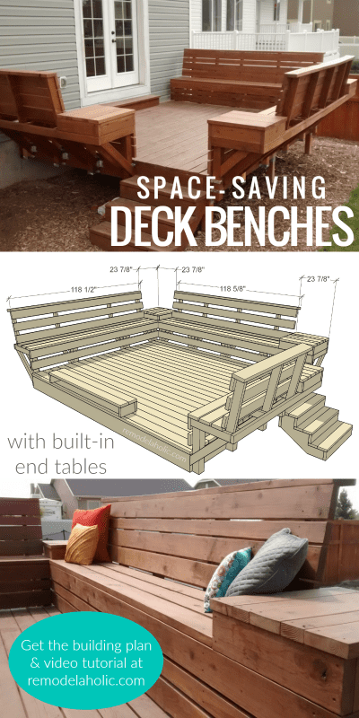 DIY Space Saving Deck Benches With Built In Tables, Building Plan And Tutorial @Remodelaholic