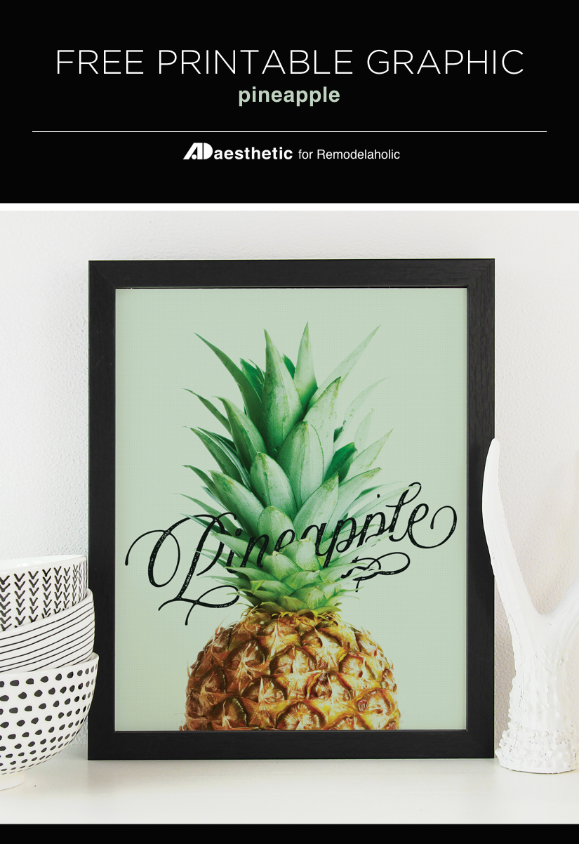 Free Printable Graphic • Pineapple • AD Aesthetic For Remodelaholic Free Printable Pineapple Art | Welcome your guests with a cheery modern art pineapple print | free printable art collection | gallery wall