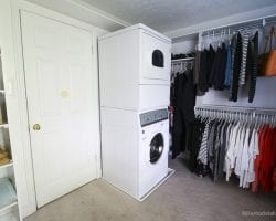New Speed Queen Stacked Unit Installed Into Closet @Remodelaholic 48
