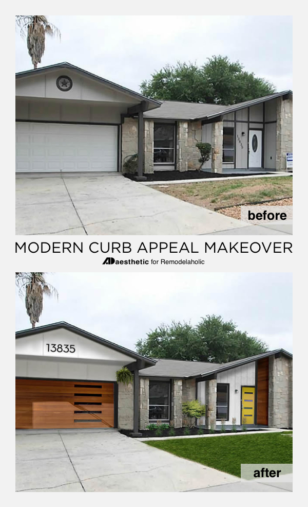 Mid-Century Modern Curb Appeal   Virtual Makeover by AD Aesthetic on Remodelaholic.com