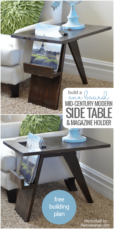 Build A DIY Mid Century Modern Side Table With Magazine Holder Using From Just One Board @Remodelaholic
