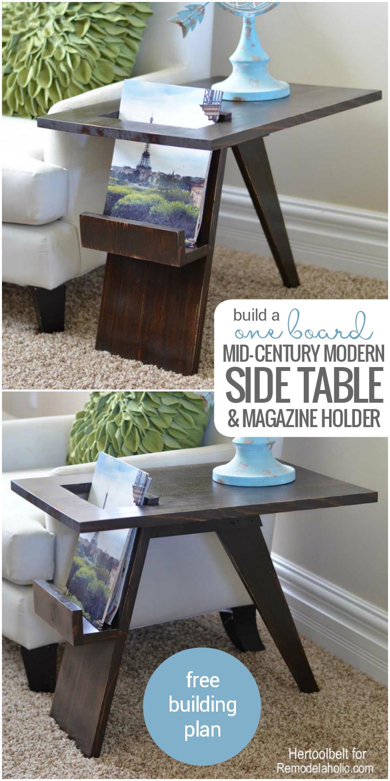 remodelaholic build a diy mid century modern side table. Black Bedroom Furniture Sets. Home Design Ideas