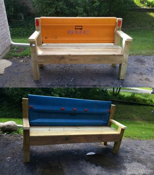 Build With 2x4s, Patio Bench With Upcycled Tailgate Back, Michael Naugle Featured On @Remodelaholic