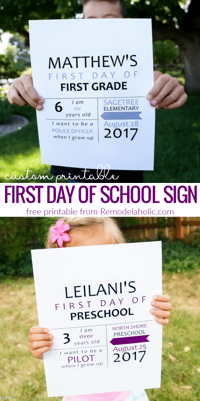 Free Custom Printable First Day of School Sign + 3 More Printable First Day of School Signs @Remodelaholic