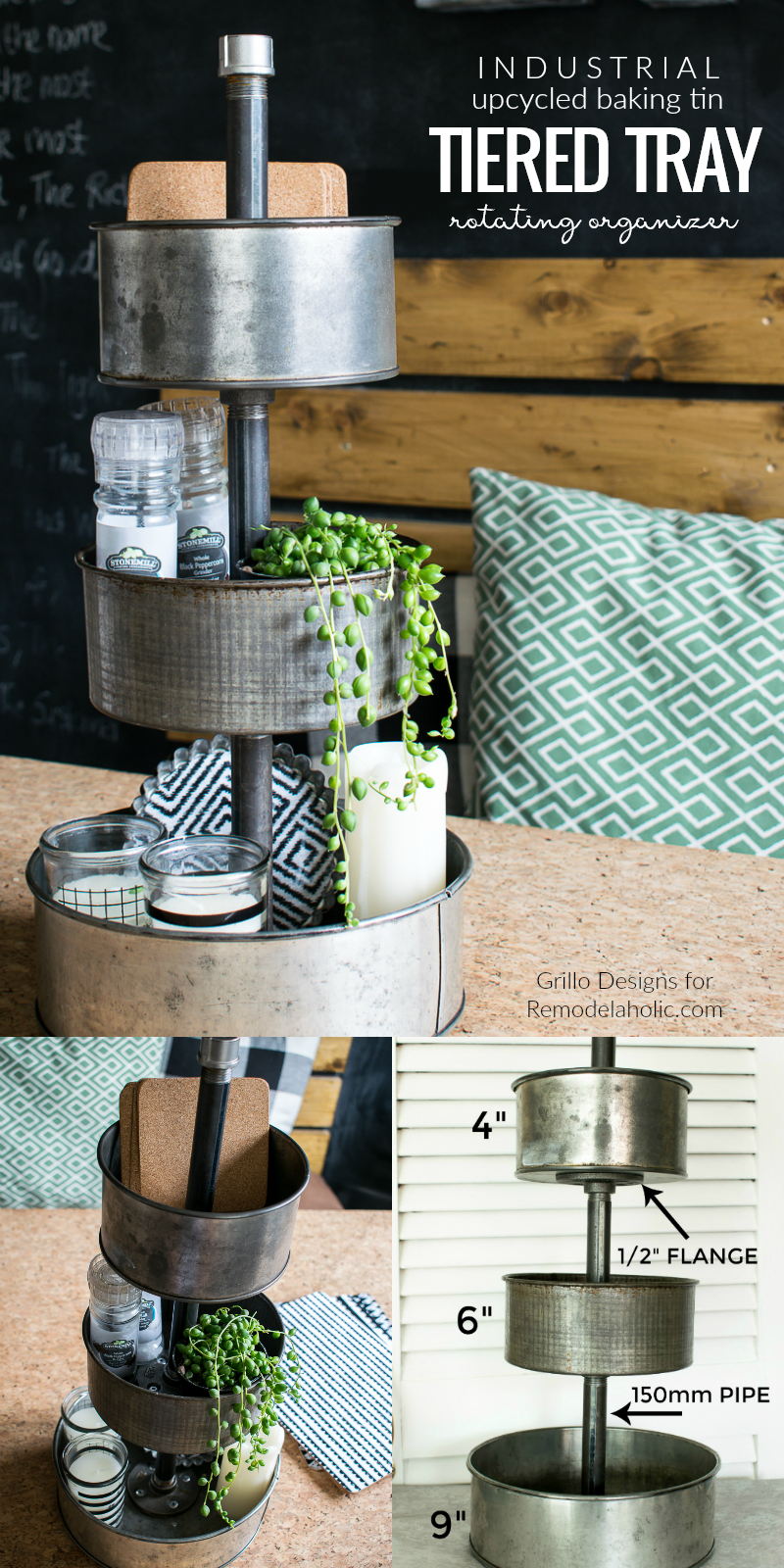 Remodelaholic diy rotating metal tiered tray organizer for Diy upcycle