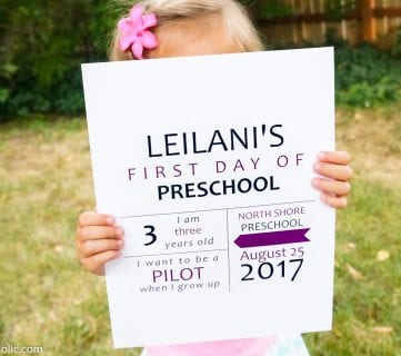 NEW! Free Printable First Day of School Signs 2017-2018