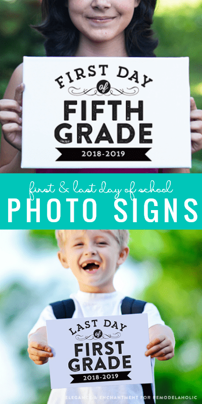 Free Printable First Day Of School Signs And Matching Last Day Of School Photo Signs #remodelaholic