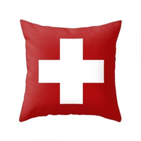 Gender Neutral Shared Kids Room Red Swiss Cross Pillow